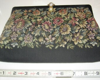 Vintage HARRY LEVINE Tapestry Evening Clutch Purse