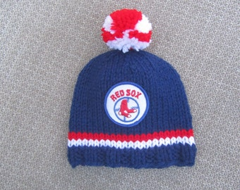 BOSTON RED SOX, Red Sox Hat, Hand Knit Baby Hat, Boston Baby Hat, Hand Knit Baby Hat, Boston Baby, Boston Red Sox Baby, Boston