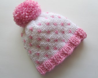 Pink and White Knit Baby Hat, Fair Isle Baby Hat, Newborn Baby Hat, Baby Girl Hat, Baby Girl Gift, Fair Isle Knit Baby Hat