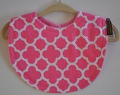 Baby Girl Hot Pink Damask and Hot Pink Terry Cloth Snap Bib