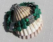 "Green Malachite Gemstone Crystal Heart Bracelet ""Celtic Heart"", Green Bracelet, Malachite Bracelet, Chakra Bracelet, Heart Bracelet"