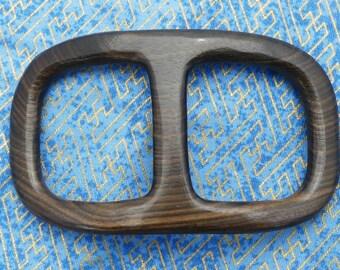 Handmade Thin Buckle Shaped EBONY WOOD Ring for your Hermes Silk Scarf Shawl