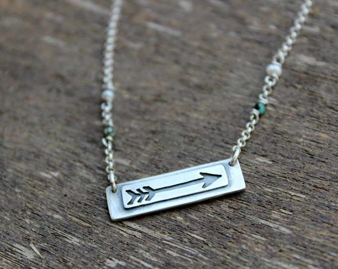 Moving Forward Arrow Necklace, Reversible and Personalized