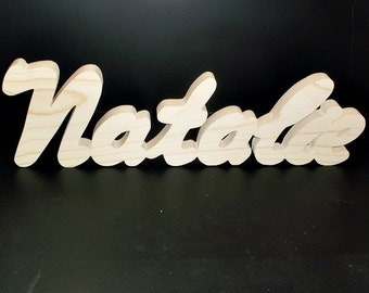 Name Sign 5 in . High x .75 in. thk 7 Letters Stand Alone  Unfinished  Wood Style 3 Stk No. N-3-.75-5-7-LC-SA