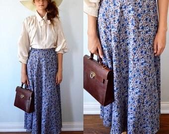 Vintage Floral Skirt, Midi/Maxi Skirt, 1980s Skirt, Revirsable Floral Midi/Maxi Skirt, Blue Floral Skirt, Brown and Blue Floral Skirt