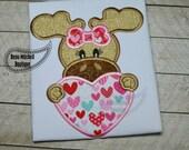 Valentine moose applique