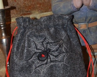 Charcoal Grey Wool Blend  Drawstring Bag with  Black  Satin Lining - Embroidered with Large Spider and Web