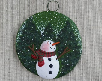 hand sculpted polymer clay Evergreen snowman ornament