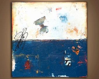 Acrylic Mixed media Painting Abstract blue landscape art