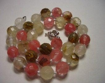 Tourmaline necklace, gemstone necklace, faceted watermelon tourmaline quartz, hand knotted gemstone necklace, pink, amber, cream, brown