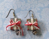 Christmas Wrapped Gift Jingle Bell Dangle Earrings Holiday Christmas Earrings