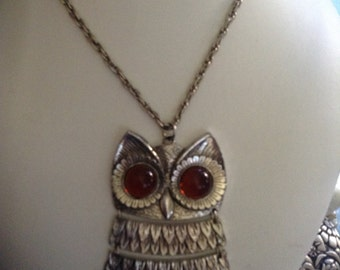 Vintage 70's Owl Necklace with Amber Eyes