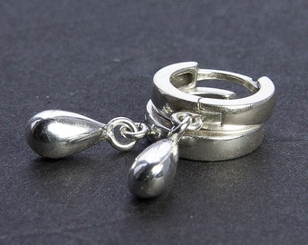 Silver Dewdrop Hoop Earrings. Petite Earrings. Sterling Silver Earrings. Classic Simple Silver Earrings. Gift Under 50