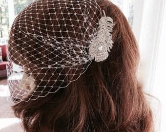 Birdcage Bridal Veil, Wedding Blusher Veil, Rhinestone Blusher Veil, Bandeau Birdcage Veil