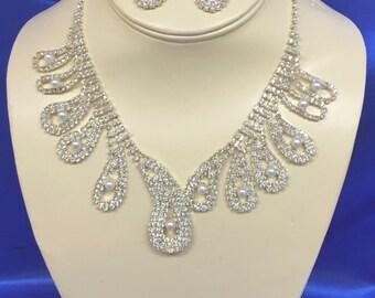 Rhinestone Necklace Earrings Set,  Rhinestone Bridal Necklace Set, Rhinestone Wedding Necklace Set, Necklace and Earrings Set