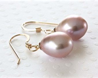 Pink Pearl Earrings, Pearl Drop Earrings, Freshwater Pearl Earrings, Pearl Dangle Earrings, Gold Filled Jewelry, Quality Jewelry