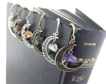 Gemstone Moon Bookmarks - Boho Gifts - Custom Bookmark - Dangle Shepherd Hook Book Mark - Book Markers - Teacher Gifts - Book Lover Gift