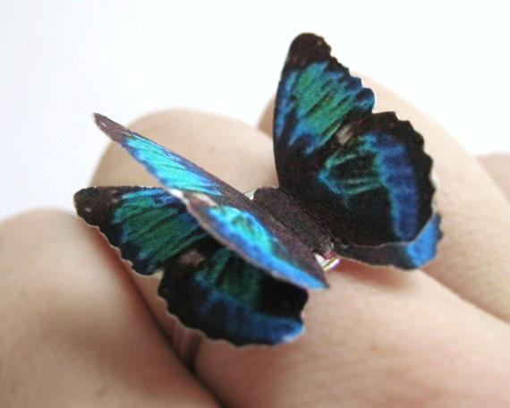 Navy Blue Butterfly Ring - Paper Jewelry Statement Ring Recycled Jewelry Sapphire Ring Unique Ring Adjustable Ring For Womens Gift Under 20