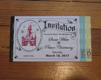 Vintage Disney E Ticket 3 Page Invitation, Birthday, Wedding, Bachelor, Bachelorette