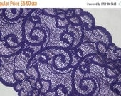 """ON SALE 10% off 2 yards Bright Royal Purple Grape White two tone toned galloon sheer floral stretch lace 5.75"""" wide"""