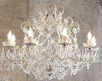 Silver birdcage chandelier with 8 lights clear Murano drops