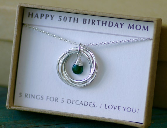 50th birthday gift emerald necklace 5 year anniversary gift