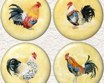 "Rooster Coaster Set of  4 - 3.5"" in Size Buy 3 Sets Get 1 Full Set Free  026C"