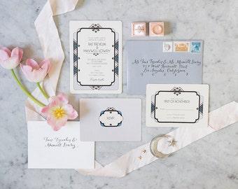 Art Deco Wedding Invitation, Gatsby Wedding, Wedding Invitations, Wedding Invitation Set, Art Deco Wedding, Wedding Programs Savoy