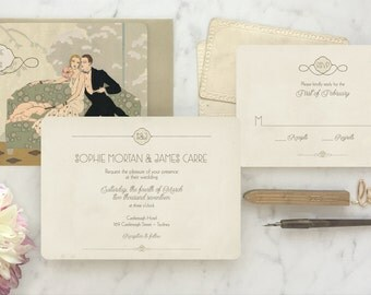 Roaring 20s Invitation, 1920s Invitation, Art Deco Wedding Invitation, Vintage Style Wedding, Great Gatsby, Invitation Set - The Waldorf