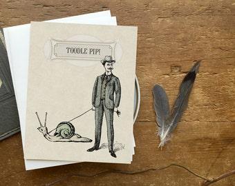 Greeting Card Set, Greeting Card, Thank You Card, Notecard, Note Card, Birthday Card, Birthday Greeting, Steampunk, Victorian Snail Man