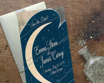 Save the Date, Save the Date Postcards, Art Deco Wedding Invitation, Moon and Stars Wedding, Star Wedding Invitation, Love You to the Moon