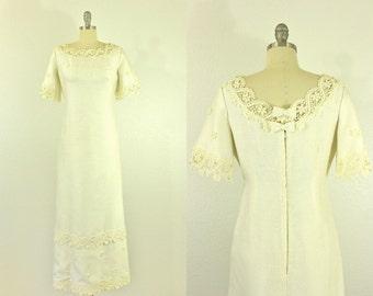 60's Wedding Dress M L Floral Lace Maxi Dress Boho