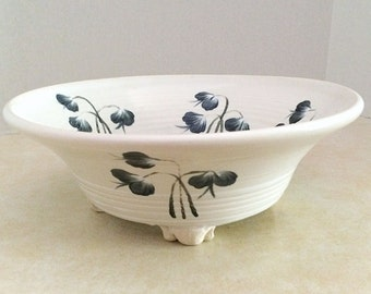 Clay serving dish,ceramic serving  bowl, clay bowl white with black flowers, centerpiece for your table, fruit bowl, salad bowl, pasta bowl,
