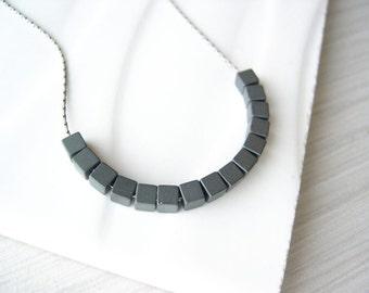 Grey Stone Neckace - Simple Jewelry, Contemporary, Cube, Graphite, Modern, Metallic, Hematite, Stone, Matte Silver, Beaded