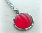 Gifts for Little Girls Garnet Red Necklace Czech Glass Cabochon on Oxidized Silver Chain