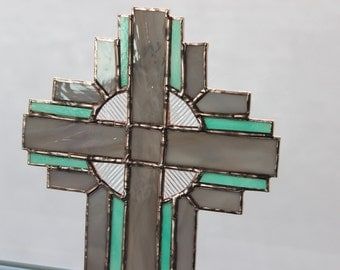 STAINED GLASS CROSS-Grey Gray Teal Suncatcher, Christian Wedding Gift, Christian Gift, Anniversary Gift, Wedding Party Gift, Pastor Clergy