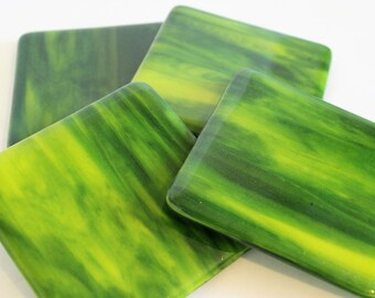 GLASS DRINK COASTERS - Jungle Green Fused Glass Coaster Set, Gift New Home, Yellow Green, Bridal Shower Gift, Home Decor, Green Coaster Set