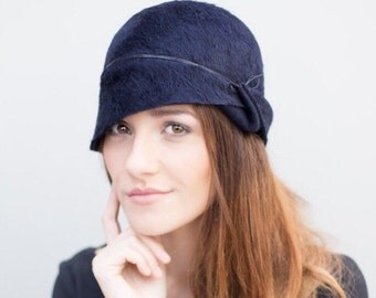 Felt Cloche Hat, Winter Style Millinery, Chapeau, Fitted, Made to Measure - Lea
