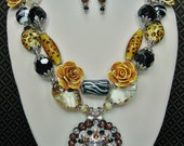 3 Piece Necklace Set / Animal Print Necklace Set / Statement Black Brown Necklace Set / Bold Chunky Cowgirl Western Necklace - AFriCaN QUeeN