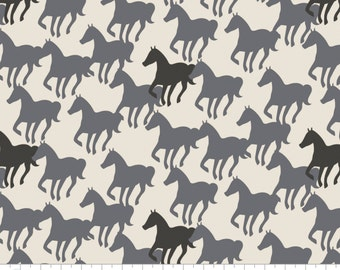 Horse Silhouettes on Off-White - Equestrian from Camelot Fabrics - Full or Half Yard Gray and Black Horses on Creamy White
