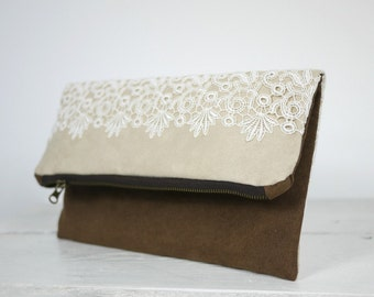 Chocolate Brown and Ivory Lace Foldover Clutch