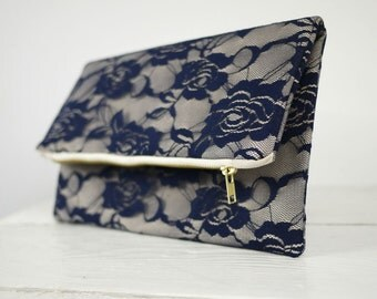 Navy Blue lace clutch, fold over navy lace clutch | Navy Blue Lace Purse