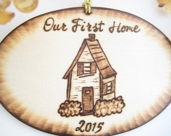 Personalized first house ornament -Rustic Christmas pyrography