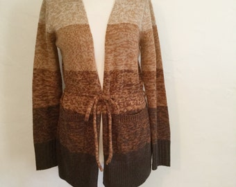 Vintage 90s/  Brown / Tan / Camel / Hooded / Boho / Sweater / Medium