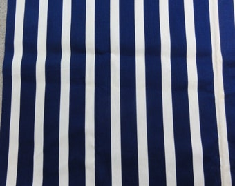 """Vintage Outdoor Canvas Fabric, Blue & White Striped Fabric, Outside Fabric Cotton Fabric by the Yard Sewing Supplies 4 Yards x 44"""" wide"""