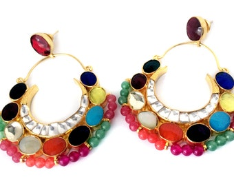Navrattan kundan earrings,Multicolored Chandelier Earrings,Indian Jewellery,Real gemstone earrings, Mughal art jewellery by Taneesi.