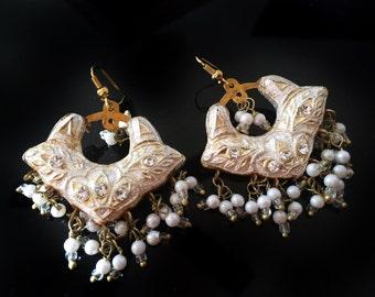 Silver chandbali,Flower earrings,Silver Lac Earrings,white pearls Chand Bali,Jaipur Jhumkas,Indian Jewellery by Taneesi