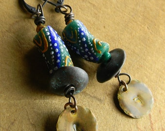 Tribal Jewelry African Earrings Blue Krobo Handmade Beaded