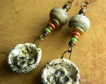 Tribal Jewelry Lampwork Earrings Artisan Orange Green Bronze Boho Beaded Jewelry