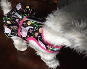 """SALE  14-16"""" Chest Happy Elephant ruffle, Small Dog Harness Made in USA"""